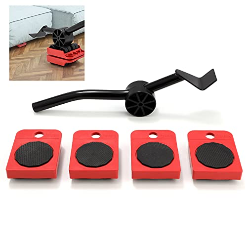 Shywall Elevador de muebles, juego de herramientas para mover objetos pesados Elevadores de muebles, ruedas y palanca para mover la lavadora, el sofá, la mesa y el refrigerador (varilla roja)