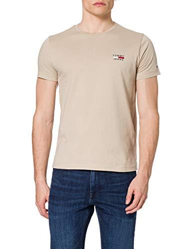 Tommy Jeans Herren TJM Chest Logo Tee T-Shirt, Soft Beige, L