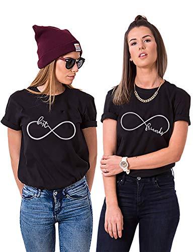 Best Friend T-Shirt für 2 BFF Sister Shirt Damen Sommer Oberteil BFF Geschenke, Schwarz, BEST-M+FRIEND-M