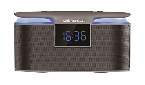 Emerson Portable Bluetooth Speaker, 12W Stereo, USB Charging, Hands Free Calling, Night Light, ER-BT200 Clock and FM Radio