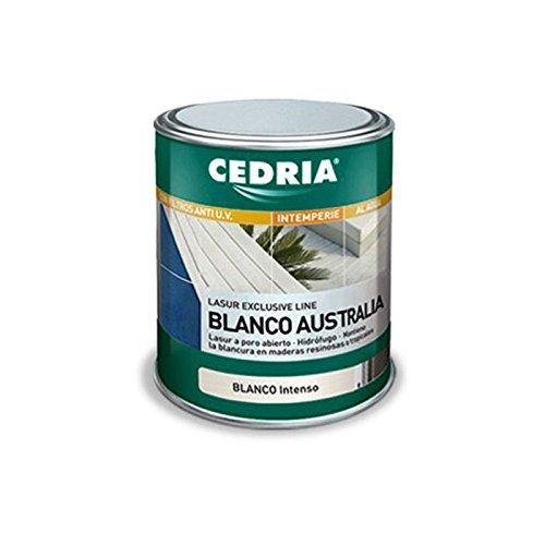 Barniz al agua blanco Australia Exterior de la marca Cedria - Lasur blanco intenso - 750 ml -