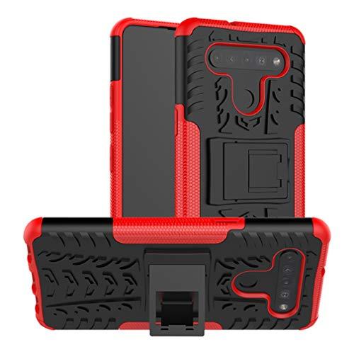 HAOTIAN Funda para LG K41S / K51S Funda, Carcasa [Tough Armor Series] Robusta Armadura Híbrida TPU/PC, Protector Interno TPU a Prueba de Golpes + Soporte Plegable. Rojo