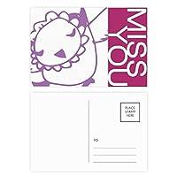 シンプルな線を描く漫画の鳥動物 ポストカードセットサンクスカード郵送側20個ミス