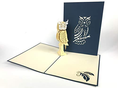Old Eule Pop Up Grußkarte Anniversary Baby Happy Geburtstag Ostern Mutter Thank You Valentine 's Day Hochzeit Kirigami Papier Craft Postkarten