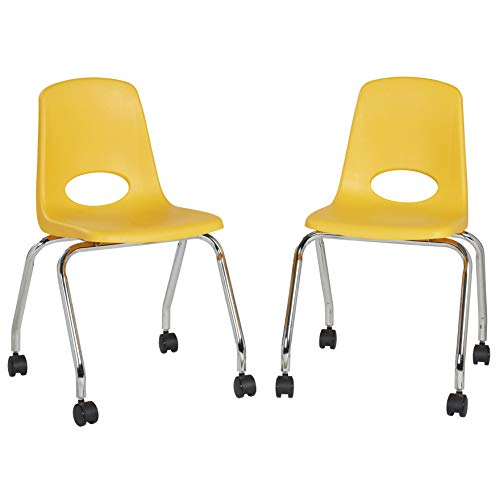 FDP-10372 18' Mobile School Chair with Wheels for Kids, Teens and Adults; Ergonomic Seat for in-Home Learning, Classroom or Office - Yellow (2-Pack)
