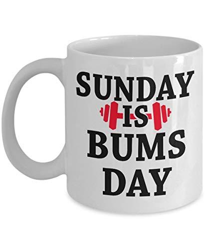 N\A Taza de café de Entrenamiento Sunday is Bums Day Gym Gymnastic Gymnast Funny Saying Quote Gift