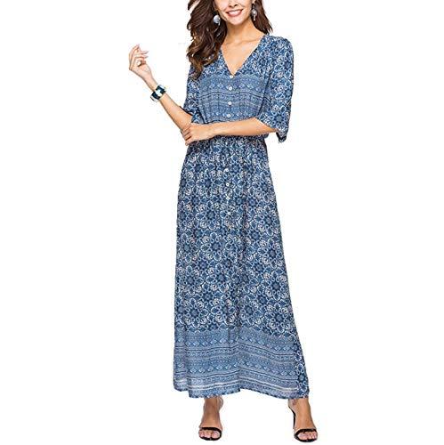Nieuw Summer Beach Dress zomerjurkjes voor vrouwen met een V-hals strand jurk Bohemian print jurk strand rok Out Dress,Blue,XXXL
