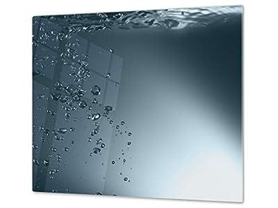 Cubre vitro de cristal templado – Protector de encimera de vidrio templado – Resistente a golpes y arañazos – UNA PIEZA (60 x 52 cm) o DOS PIEZAS (30 x 52 cm); D02 Serie Agua: Agua 1