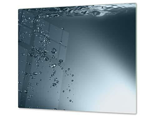 Planche de cuisine en VERRE trempé – Planche à découper en verre – Couvre-plaques de cuisson – UNE PIÈCE (60x52 cm) ou DEUX PIÈCES (30x52 cm chacune);D02 Série Eau: Eau 1