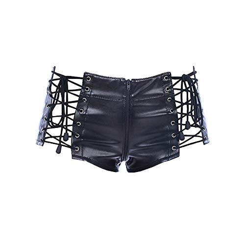 Black PU Leather Sexy Zipper Crotch Package Hip Shorts Lacing Adjustable Leather Pants Stage Suit