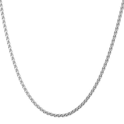 U7 Collana catena grano sottile Uomo in Acciaio INOX 3 mm Ragazzo Gioiello alla moda Confezione Regalo Natale - 55 cm / Argento