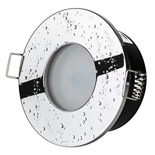 Preisvergleich Produktbild 5Watt Bad Einbaustrahler Aqua 2.0 IP65 Chrom 230Volt GU10 400Lumen TÜV & GS Geprüft Badezimmer Dusche Vordach Keller Einbauspot