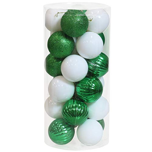 Sunnydaze 24-Count 60mm (2.36-Inch) Shatterproof Christmas Ball Ornaments with Hooks Included - Merry Medley Tree Decorations Set for Holiday Decor and Gatherings - White/Green