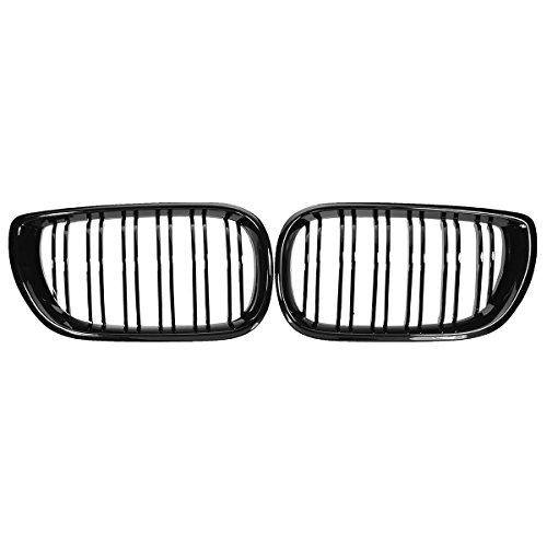 MZQ-DM Rejilla de riñón, Coche Gloss Black Front Llats Style Barbecue 2 Lums para BMW E46 4 Puertas 3 Series 2002 2003 2004 Pareja de Estilo de automóvil
