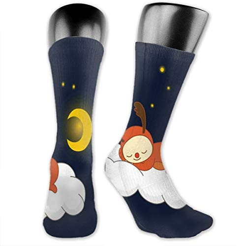 Compression Medium Calf Socks,Reindeer Sleeping With Stars And Crescent Moon On Blue Shade Backdrop