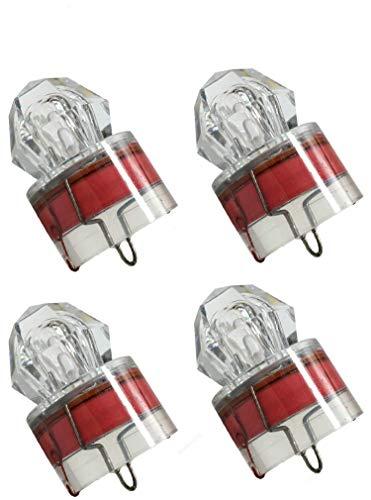 4 Pack LED Deep Sea Unterwasser Diamant Angeln Blinklicht Köder Lure Strobe (Red)