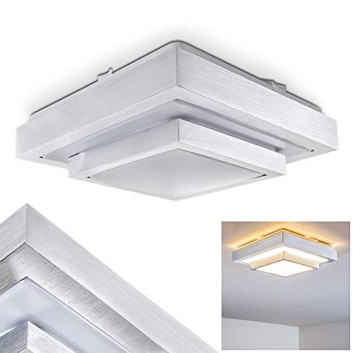 LED Deckenleuchte Sora, eckige Deckenlampe aus Metall in Aluminium gebürstet, 2-stöckig, 12 Watt, Lichtfarbe 3000 Kelvin (warmweiß), IP 44, auch für das Badezimmer geeignet