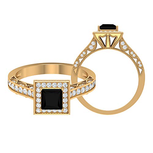 Rosec Jewels 14 quilates oro amarillo talla princesa round-brilliant-shape H-I Black Diamond Espinela negra
