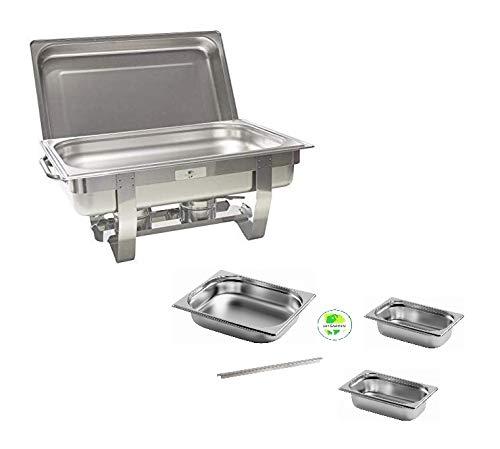 Gastro-Bedarf-Gutheil Chafing Dish Speisenwärmer bestehend aus: 1 Gestell mit Deckelhalterung, 1 Wasserbecken 4 Speisebehälter 2 x GN 1/4 + GN 1/2 + GN 1/1 - Tiefe 65 mm