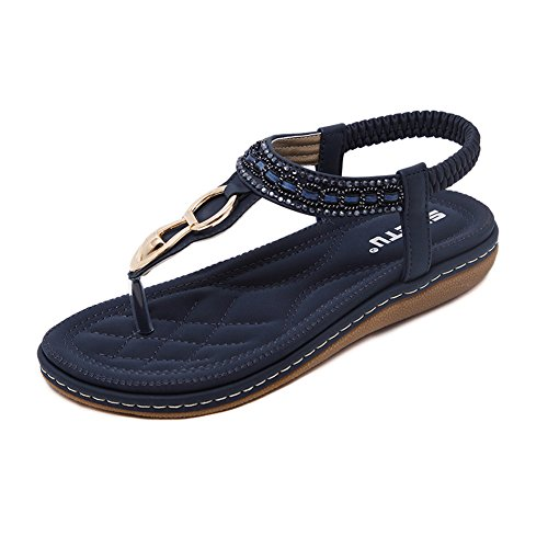 DolphinGirl Bohemian Summer Vacation Flat Thong Sandals, Navy Blue Open Toe Glitter Rhinestone Shiny Golden Metal Shoes for Dressy Casual Jeans Daily Wear and Beach Vacation,Navy Blue,10.5 M US