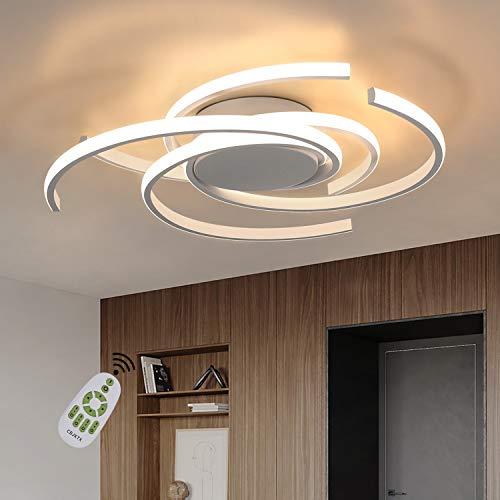 CBJKTX Deckenleuchte LED Deckenlampe Moderne Wohnzimmerlampe Weiß dimmbar mit Fernbedienungaus Eisen und Aluminium 77W Ring Design für Esszimmer Schlafzimmer Wohnzimmer Büro Flur