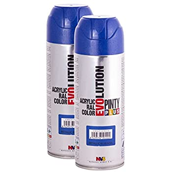 Pintyplus Evolution Spray Paint - Metallic Blue - MT154 - Pack of 2 - Fast Dry Acrylic Spray Paint for Metal Wood Stone Cardboard and Paper