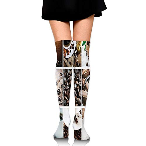 Collage van koffie en producten bonen woestijnen ijs kaneel Hot drinken vrouwen mode over de knie hoge sokken (60cm)