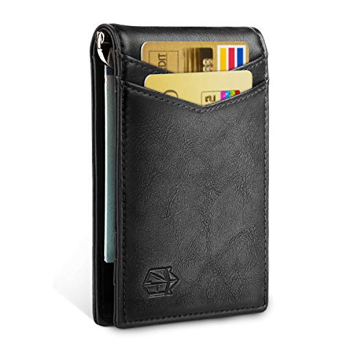 Zitahli Minimalist Slim Bifold Front Pocket Wallet with Money Clip for men,Effective RFID Blocking & Smart Design