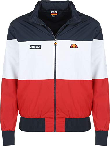 ellesse LA Querce 0316 Block Colour Lightweight Rain Jacket - Navy/White/Red Medium Navy