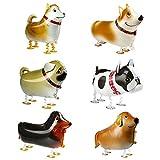 Kesote 6 Globos de Papel de Aluminio Globos para Caminar de Animales Perros Globos de Helio Caminante para Niños Decoración de Fiesta de Cumpleaños Regalo