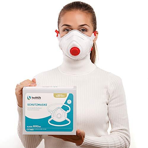 health2b FFP3 Maske CE Zertifiziert [10 Stück] CE1463 Atemschutzmaske Mundschutz mit Ventil