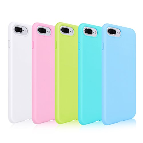 Pofesun Sleek Silicone Gel Rubber Case Protective TPU Back Cover Compatible for 5.5 inches iPhone 7 Plus 2016 / iPhone 8 Plus 2017-5 Pack (White, Pink, Blue, Green, Mint)