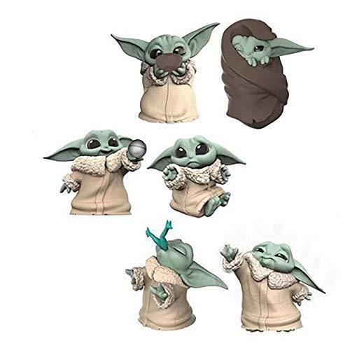 YONGKE Edición De Animación Infantil Star Wars-Mandalorian Baby Yoda Figurita Coleccionable Decoración del Coche Figura Niñosjuguetes 6 Piezas