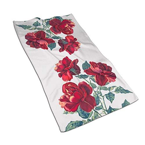 Tyueu Toalla de mano y paño de toalla con diseño de rosas rojas, toallas extra suaves, 27,5 x 44,5 cm