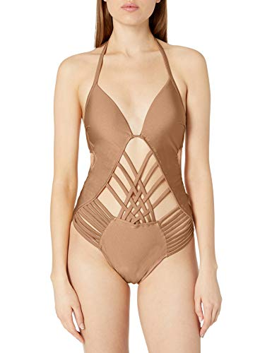 Kenneth Cole New York Women's Stappy Push Up Mio One Piece Swimsuit, Desert//Nudes, M