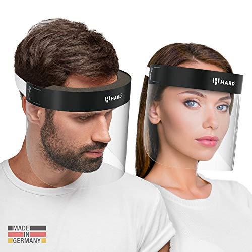 HARD 1x Pro Visera de protección facial, Certificado médico, Protector de plástico Antivaho, Pantalla protectora para adultos, Hecho en Alemania - Negro/Blanco