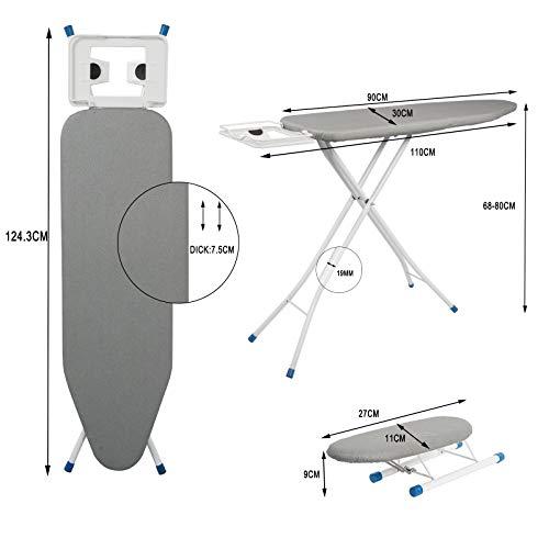 WOLTU BGT04gr Bügeltisch Bügelbrett für Dampfbügeleisen mit Ärmelbrett Grau 110 x 30 cm - 4