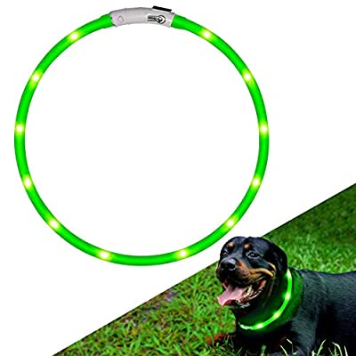 KABB LED Dog Collar, USB Rechargeable Flashing Light Up Night Safety Collar Soft Silicone Waterproof Length Adjustable Pet Necklace Collar by KABB