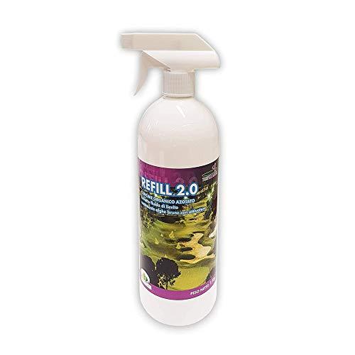 Turfmaster Refill 2.0 - Concime Liquido per Prato, 1L Spray - Migliora Crescita e Salute dell'Erba, Giardino, Campo - Estratto Fluido di Lievito con Alghe Brune - Attivatore Organico Azotato Naturale