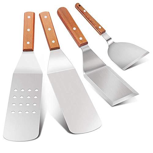 KANAV BBQ Grill-Zubehör-Set, 4-teilig, exklusives Grill-Werkzeug, lang/kurze Spatel, Grill-Zubehör-Set mit robustem Schaber, Pfannenwender für Outdoor-Grill, Teppanyaki und Camping