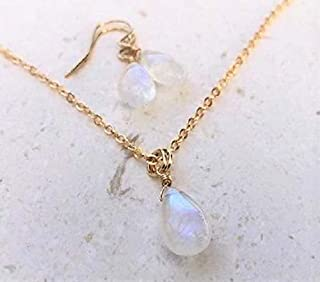 Rainbow Moonstone Earring and Necklace Gemstone Set 14K GF - Jewelry Gift For Women