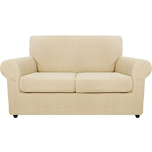 SYLC Fundas de sofá de 3 piezas para sofá grandes de 2 plazas con 2 fundas de cojín separadas, fundas elásticas antideslizantes con parte inferior elástica (beige)