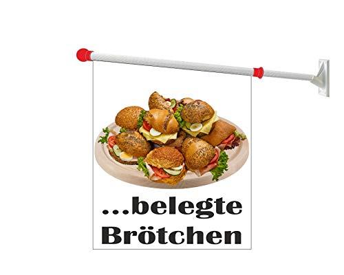 Werbeflagge (Fahne mit über 50 Varianten, Text und Bild, z.B. Eis, Döner, Kaffee, Crepes, Waffeln, Pommes uvm.) Ideal für Kiosk, Restaurant oder Kirmes, weiß (Belegte Brötchen)