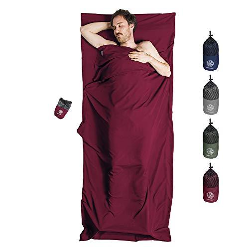 Bahidora Hüttenschlafsack aus Mikrofaser, Schlafsack Inlett, Schlafsack Inlay, Reiseschlafsack. Ideal für Hostels, Berghütten und Jugendherbergen (weinrot)