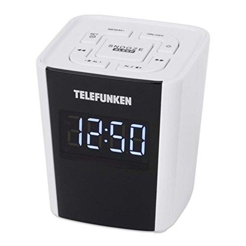 Telefunken Uhrenradio R1000 | weiß | 12/ 24h Anzeige | Radiowecker | UKW und digitaler PLL Tuner | Schlummertaste