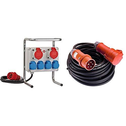 Kompakter Kleinstromverteiler BKV 2/4 G IP44 / Baustromverteiler mit Stahlrohrgestell (2m Kabel) & as - Schwabe Starkstrom Verlängerungskabel 10 m - 400 V, 16 A Verlängerungskabel - 5-polige