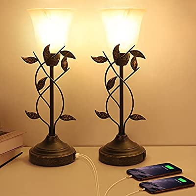 Bedside Lamp Touch Control Table Lamps with Dual USB Ports 3 Way Dimmable Nightstand Lamp Vintage Leaf Lamp Bedroom Lamp with Glass Shade for Living Room LED Bulb Included Lamps for Bedrooms Set of 2