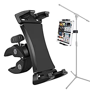 Microphone Music Stand Tablet Smartphone Holder Mount Heavy Duty 360 Degree Swivel Clamp Compatible with 3.5 to 13.5in Phone Tablets, iPad Pro 12.9 11 10.5 Air Mini, Surface Galaxy Tab, iPhone Galaxy