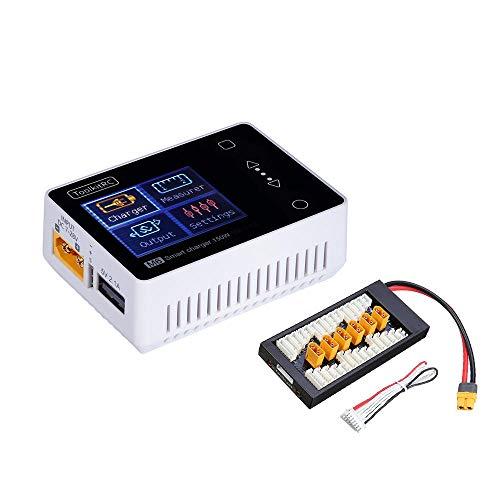 SHUGJAN ToolkitRC M6 mini 150W 10A cargador de batería inteligente con XT60 Junta cargador de batería 2-6S RC Lipo Piezas de montaje RC (Color : Black)