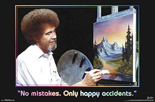 Trends International Bob Ross - No Mistakes. Only Happy Accidents Wall Poster, 22.375' x 34', Poster & Mount Bundle